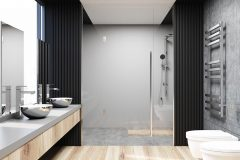 Gray and concrete bathroom interior with a concrete floor, a shower stall, a double sink on a vanity unit and a large mirror. 3d rendering mock up